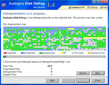 Auslogic Disk Defrag screenshot